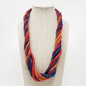 Vintage 80's Colorful Twisted Wood Bead Necklace